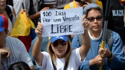 Opositores venezolanos llegaron a 100 días de protesta con López excarcelado