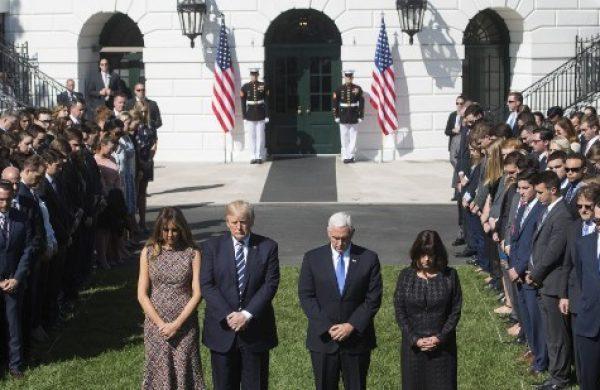 Tiroteo en Las Vegas: Trump encabezó minuto de silencio en la Casa Blanca